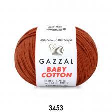 Пряжа Gazzal Baby cotton (60% хлопок, 40% акрил, 50 гр/165 м),3453 терракот