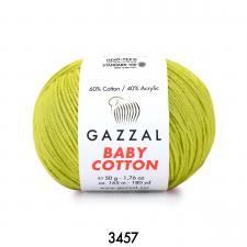Пряжа Gazzal Baby cotton (60% хлопок, 40% акрил, 50 гр/165 м),3457 фисташка