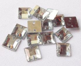 Стразы пришивные квадратные,10х10 мм,серебряный, 1 шт
