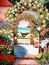 Рисуем лентами | Цветочная арка. Размер - 21 х 26 см