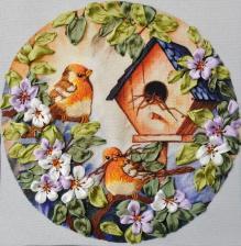 Рисуем лентами | Весёлые птички. Размер - 15 х 15 см