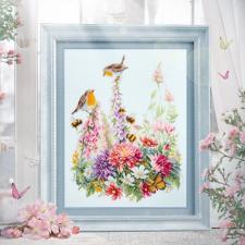 Чудесная игла   Звонкие малиновки. Размер - 31 х 40 см