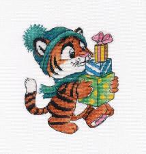 Овен   Тигрёнок с подарками. Размер - 13 х 15 см