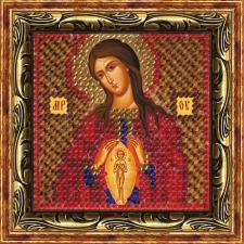 """Икона Божья Матерь """"Помощница в родах""""(с акрил.рамкой). Размер - 6,5 х 6,5 см."""