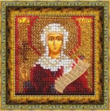 Икона Св.Муч.Валерия (Калерия) Кесарийская (с акрил.рамкой).  Размер - 6,5 х 6,5 см.