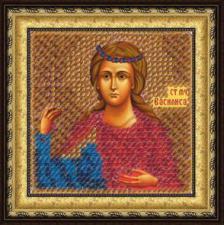 Икона Св.Муч.Василиса Никомидийская(с акр. рамкой). Размер - 6,5 х 6,5 см.