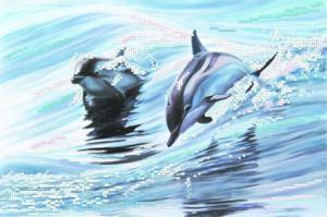 Дельфины. Размер - 34 х 28 см.