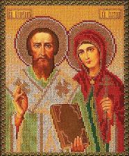 Св.Киприан и Устиния. Размер - 19 х 23 см.