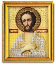 """Икона из ювелирного бисера """"Св.Алексий Человек Божий"""". Размер - 12 х 14,5 см."""