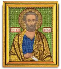 "Икона из ювелирного бисера ""Св.Апостол Пётр"". Размер - 12 х 14,5 см."