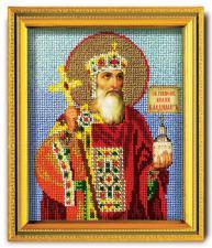 """Икона из ювелирного бисера """"Св.Владимир князь Киевский"""". Размер - 12 х 14,5 см."""
