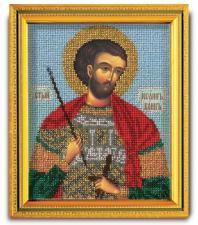 "Икона из ювелирного бисера ""Св.Иоанн Воин"". Размер - 12 х 14,5 см."