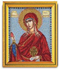 """Икона из ювелирного бисера """"Св.Мироносица Мария Магдалина"""". Размер - 12 х 14,5 см."""