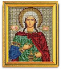 """Икона из ювелирного бисера """"Св.Фотина (Светлана)"""". Размер - 12 х 14,5 см."""