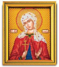 """Икона из ювелирного бисера """"Св.Софья"""". Размер - 12 х 14,5 см."""