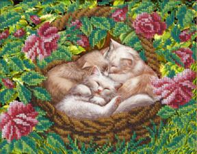 Котята в лукошке. Размер - 22,4 х 17,8 см.