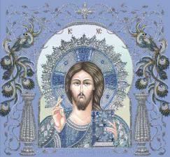 Христос Спаситель в рамке. Размер - 36,5 х 34,5 см.