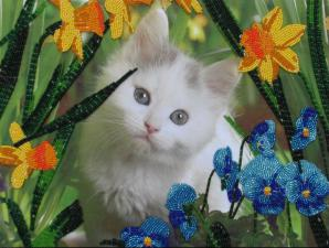 Котёнок в цветах. Размер - 25 х 33 см.