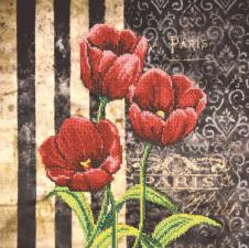Тюльпаны красные. Размер - 30 х 30 см.