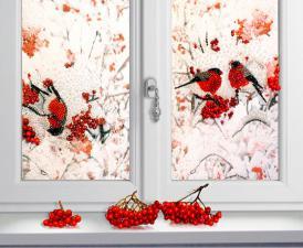 Снегири за окном. Размер - 64 х 48 см.