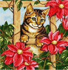 Котёнок в цветах. Размер - 42 х 41 см.