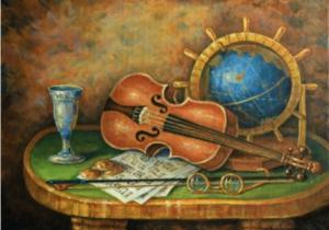 Скрипка и глобус. Размер - 50 х 35 см.