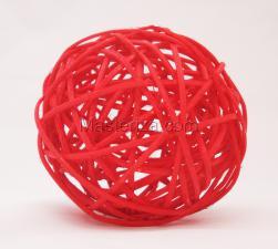 Ротанговый шар (красный). Размер - 7 см.
