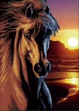 Чёрный конь. Размер - 61 х 82 см.