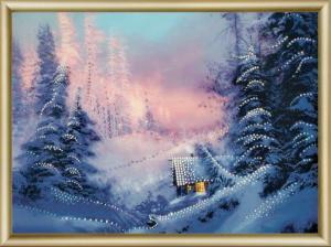 Домик в зимнем лесу. Размер - 42 х 30,3 см.