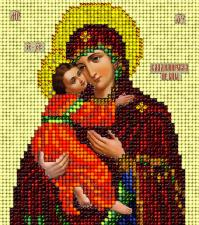Икона Владимирская. Размер - 9,8 х 11 см.