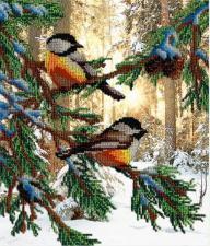 Птички в лесу. Размер - 23 х 28 см.
