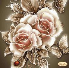 Карамельные розы. Размер - 30 х 30 см.