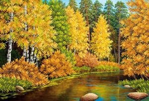 Осенняя река. Размер - 39 х 27 см.