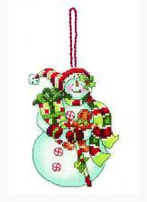 """Украшение """"Снеговик со сладостями"""". Размер - 9 х 11 см."""