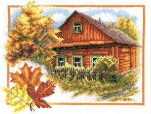 Осень в деревне. Размер - 25 х 20 см.