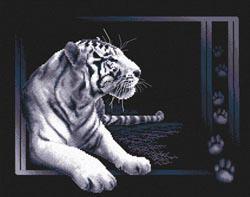Белый тигр. Размер - 40 х 32 см.
