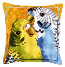 Волнистые попугайчики. Размер - 40 х 40 см.