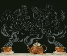 Чайная фантазия-охотники на привале-1. Размер - 54,5 х 45,3 см.