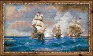 """Бриг ""Меркурий"", атакованный двумя  турецкими кораблями. Размер - 40 х 24 см."