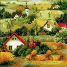 Сербский пейзаж. Размер - 40 х 40 см.