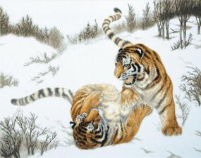 Игривые тигры. Размер - 65 х 47 см.