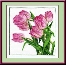 Тюльпаны розовые. Размер - 22 х 22 см.