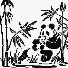 Панды-графика. Размер - 24 х 24 см.