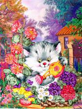 Котёнок-садовод. Размер - 18 х 23 см.