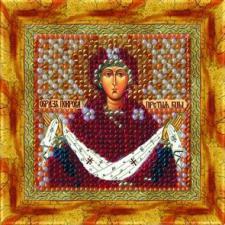 Икона Покрова Пресвятой Богородицы(с акрил.рамкой). Размер - 6,5 х 6,5 см.