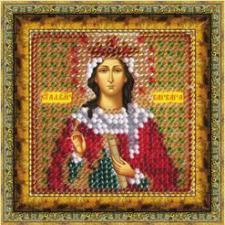 Икона Св.Вмуч.Варвара Илиопольская (с акрил. рамкой). Размер - 6,5 х 6,5 см.