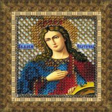 Икона Св.Вмуч.Екатерина(с акрил. рамкой). Размер - 6,5 х 6,5 см.
