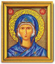 """Икона из ювелирного бисера """"Божья Матерь"""". Размер - 12 х 14,5 см."""