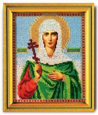 "Икона из ювелирного бисера ""Св.Антонина"". Размер - 12 х 14,5 см."