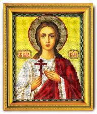 "Икона из ювелирного бисера ""Св.Вера"". Размер - 12 х 14,5 см."